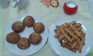 Muffins and cheese straws NB Church hall table cloth!